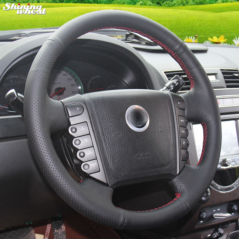 Shining wheat Hand-stitched Black Leather Steering Wheel Cover for Ssangyong Rexton Rexton W Rodius