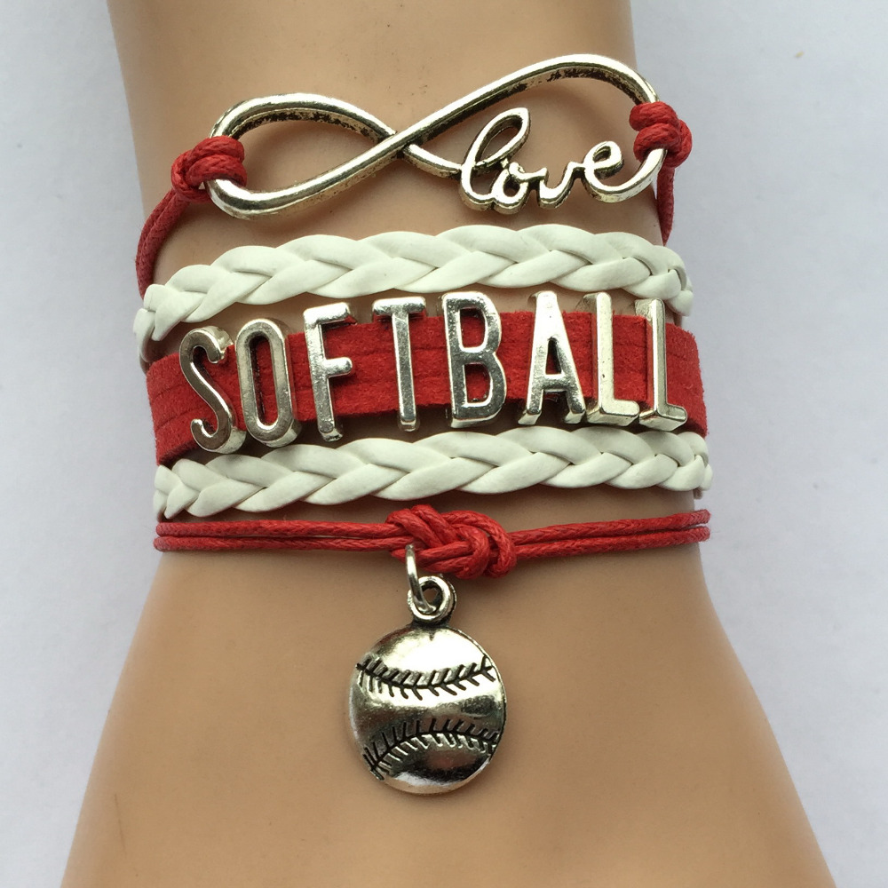 Drop Shipping Infinity Love Softball Bracelets Best Sports Fan Team  Friendship Xmas Gift Charm Leather
