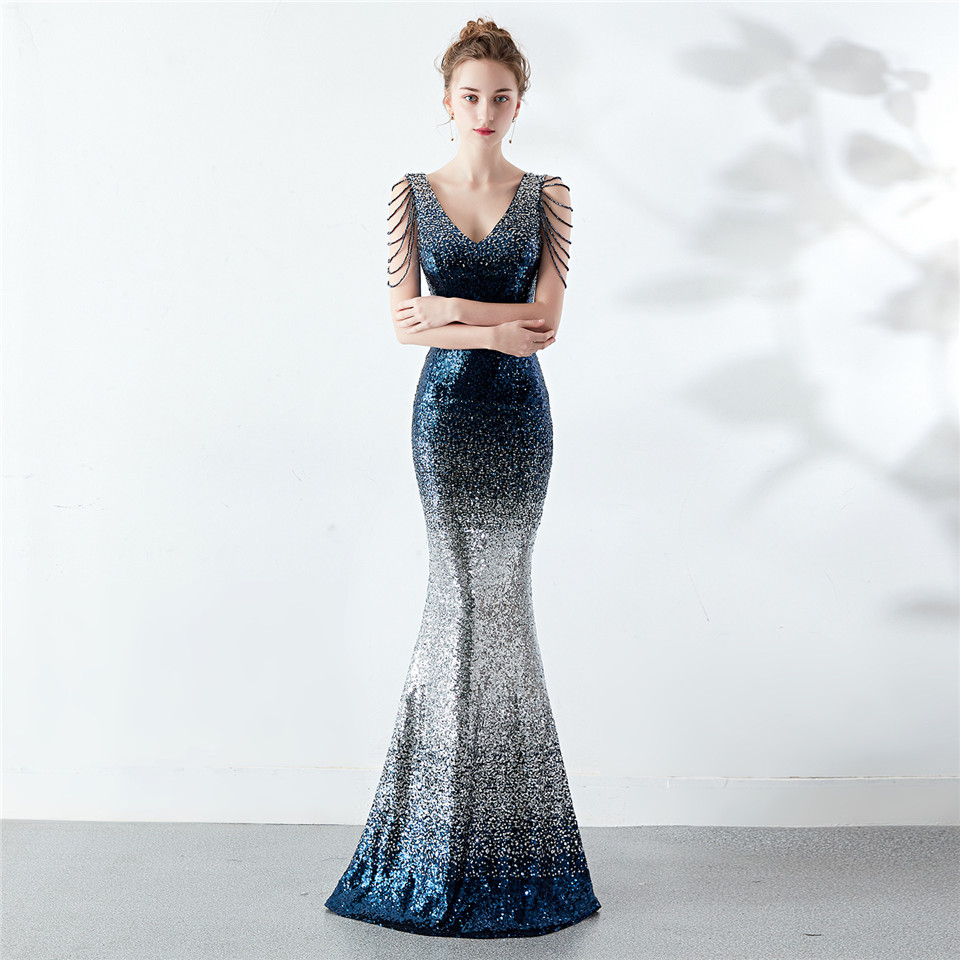 It's Yiiya Evening dress V-neck Sequined Zipper back Mermaid Party Gowns Sexy Beading Floor-length sleeveless Prom dresses C192