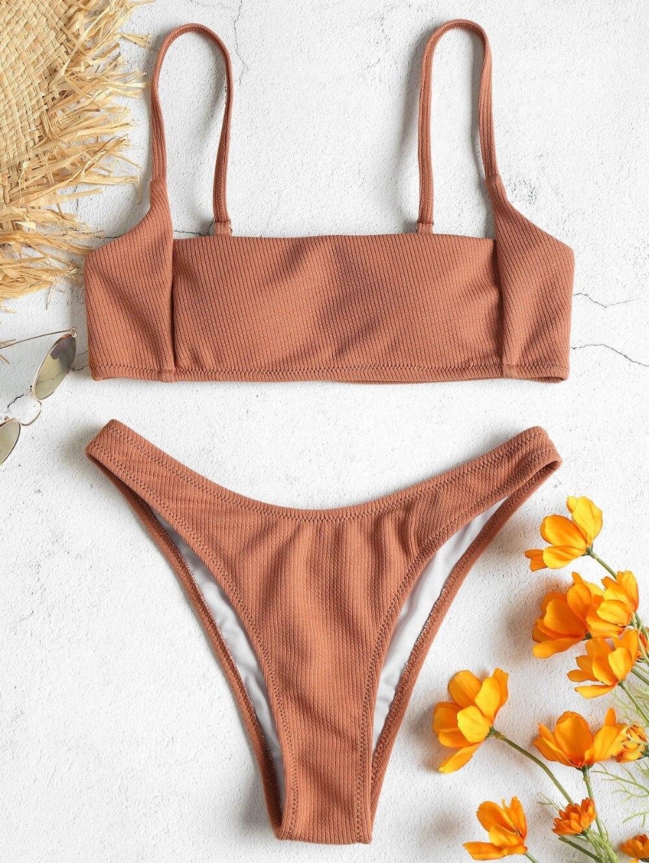 Women New Rib High Leg Bikini Set Spaghetti Straps Solid High Cut Bikinis Bathing Suit Thong Swimsuit Female Swimwear