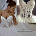Vestido de Casamento Real Sample Luxury Pearls Wedding Dresses Ball Gown 2015 Bridal Gowns Tulle Lace up Back Tulle