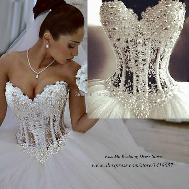 025ff3c0786 Vestido de Casamento Real Sample Luxury Pearls Wedding Dresses Ball Gown  2015 Bridal Gowns Tulle Lace up Back Tulle