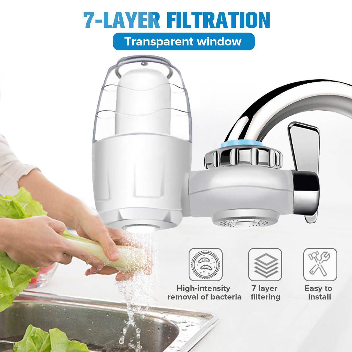 AUGIENB 7 Layer Home Kitchen Faucet Water Purifier Water Filter Purification System  Remove Rust Sediment Filtering Suspend
