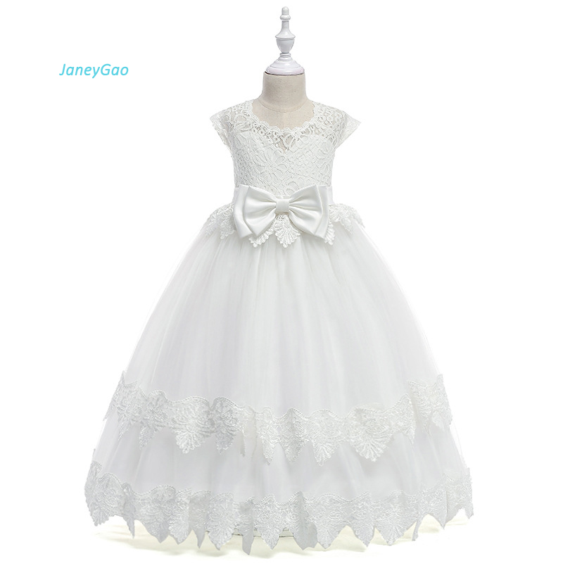 JaneyGao   Flower     Girl     Dresses   For Wedding Party Children Formal Wear Gowns 2019 Fashion Pageant First Communion   Dresses   Hot Sale