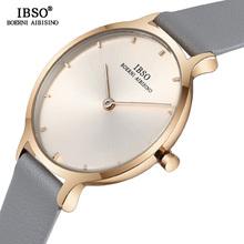 IBSO ultra-cienki zegarki na rękę dla kobiet prawdziwy skórzany pasek zegarek kwarcowy zegarek wysokiej jakości żeński moda zegar Relogio Feminino tanie tanio QUARTZ Stop Klamra 3Bar Proste Odporny na wstrząsy Odporne na wodę LM1001l Skóra 12MM 20cm 30mm Papier Hardlex Okrągły