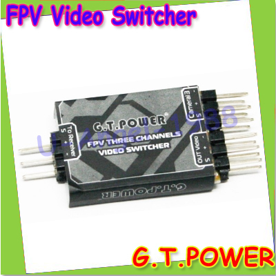 100% original G.T.Power FPV Three Channels Video Switcher for RC Airplane Aerial Photography +free shipping