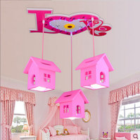 Creative children's house ceiling light girl Princess bedroom lamp warm and romantic cartoon 3 heads ceiling lamp ya818
