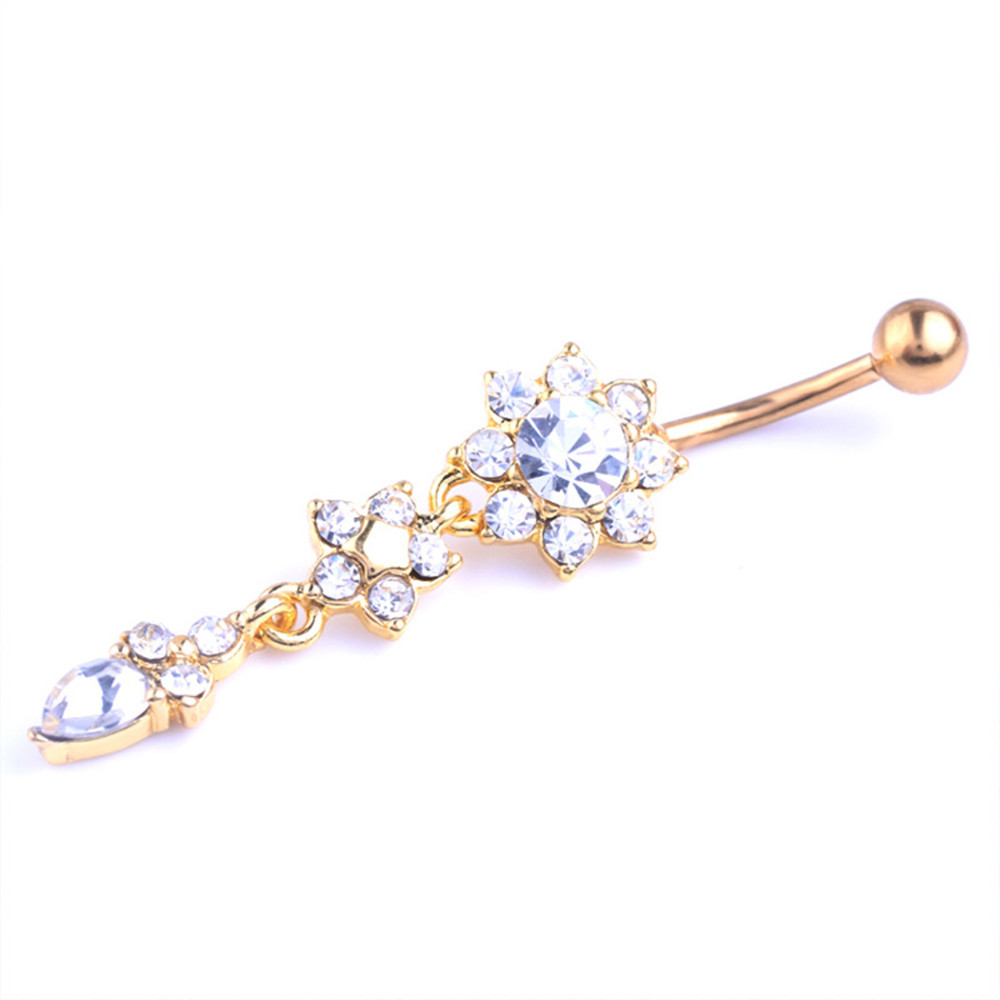 HTB11p.eOFXXXXbxXVXXq6xXFXXX1 Pretty CZ Crystal Flower Body Jewelry Belly Button Dangle Drop Ring
