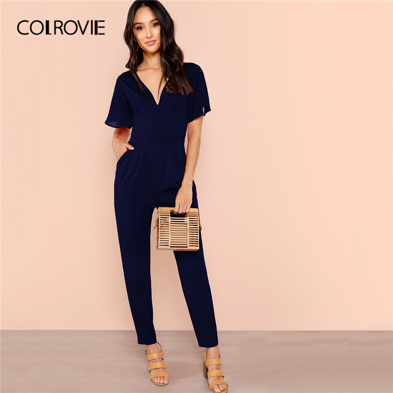 COLROVIE Navy Solid Butterfly Sleeve Pocket Plunging Elegant Jumpsuit Women 2019 Summer High Waist Zipper Ladies Party Jumpsuits