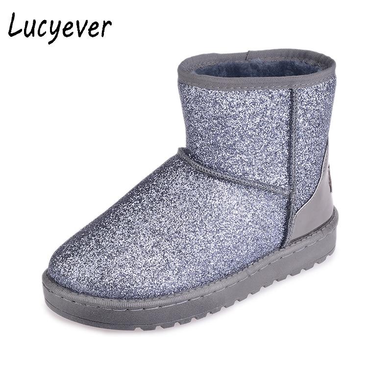 New Student Flat Boots Nero Scarpe rosa di Lucyever Warm grigio Bling Ankle Donna Snow Moda Glitter Antiscivolo cotone On Pelliccia Winter spessa Platform xXaPYwagq