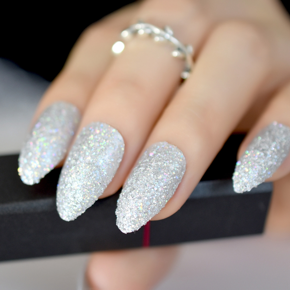 Us 23 14 Off24pcs Almond Atificial Nail Art Kit Silver Glitter Nail Accessories Medium Full Cover For Women Hot Sale Acrylic Fake Nail Z876 In