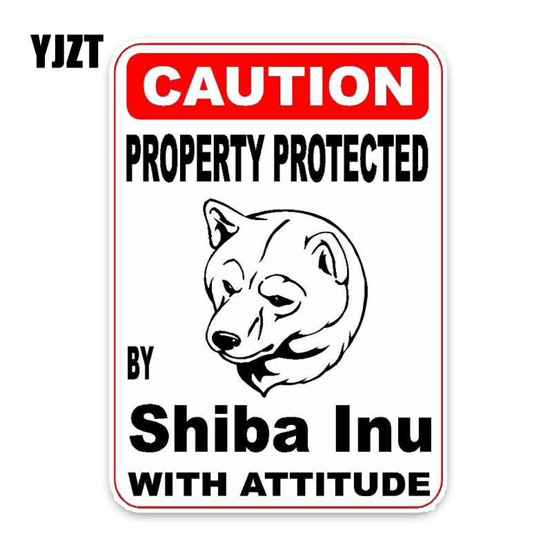 YJZT 10*14.2CM Property Protected By Shiba Inu Dog The Tail Of The Car Reflective Car Sticker Decals C1-4767