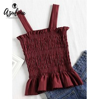 AZULINA Striped Smocked Tank Top 2018 Summer Square Neck Cute Ruffled Hem Elastic Bralette Crop Top