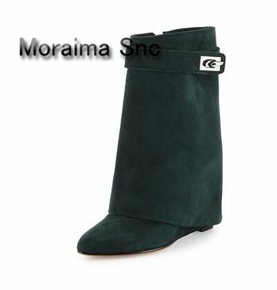 Moraima Snc Plus Size 10 Solid Color Shark Lock Suede Wedge Boots Height Increasing Fold Over Ankle Boot Women Size 10 free ship stylish plus size solid color v neck blouse