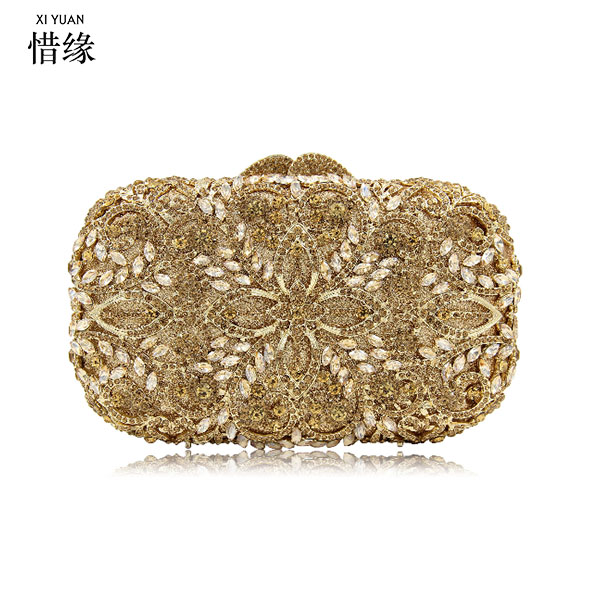 XIYUAN BRAND Gold Crystal Diamond Evening Clutch Bag bridal Wedding Sparkly Rhinestone Cocktail banquet Bag pochette Purse diamond clutch crystal bag champagne flower wedding women evening bag sparkly ladies party purse pochette banquet prom bag sc282