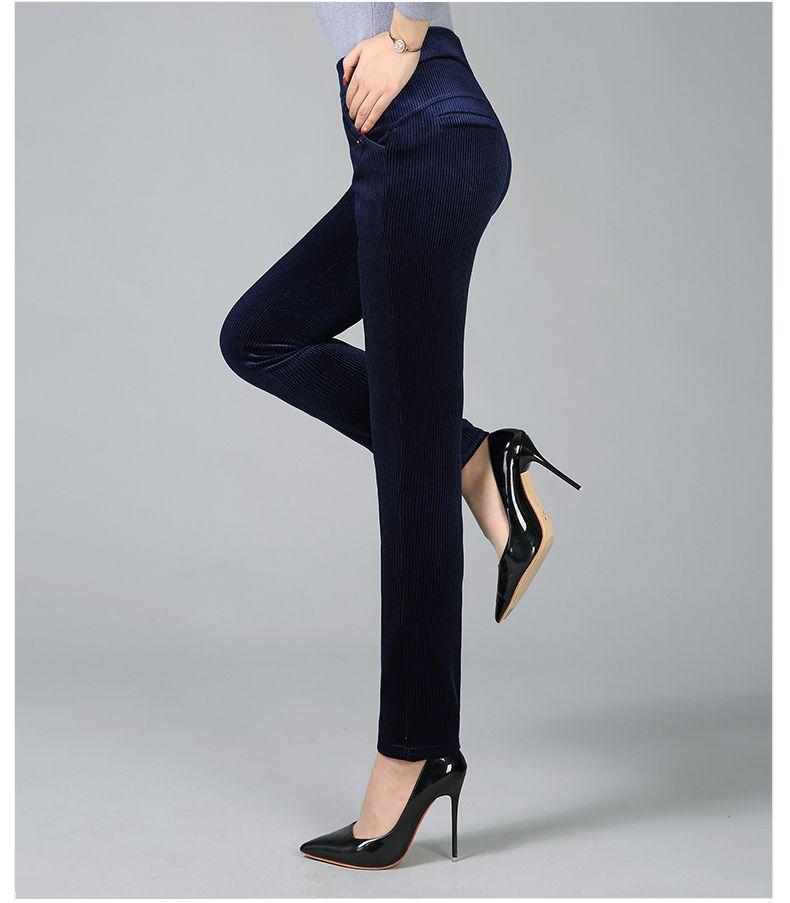 Women Elegant Striped Velvet Pants Slim Fit Corduroy Trousers Woman Red Green Black Blue Pant Bottoming Trouser Lady (10)