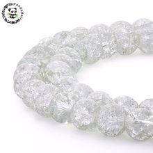 Pandahall 8 milímetros Limpar Crackle Vidro Redondo Beads Para DIY Colar Pulseiras Jóias Fazer Buraco: 1.3 ~ 1.6 milímetros, 31.4