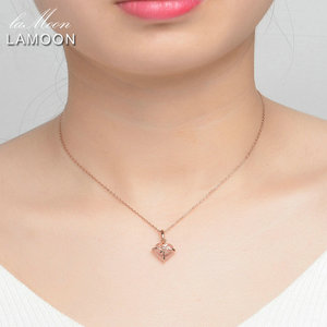 Image 2 - LAMOON 925 Sterling Silver Necklace For Women Heart Rose Quartz Gemstone Necklace 18K Rose Gold Plated Fine Jewelry LMNI016