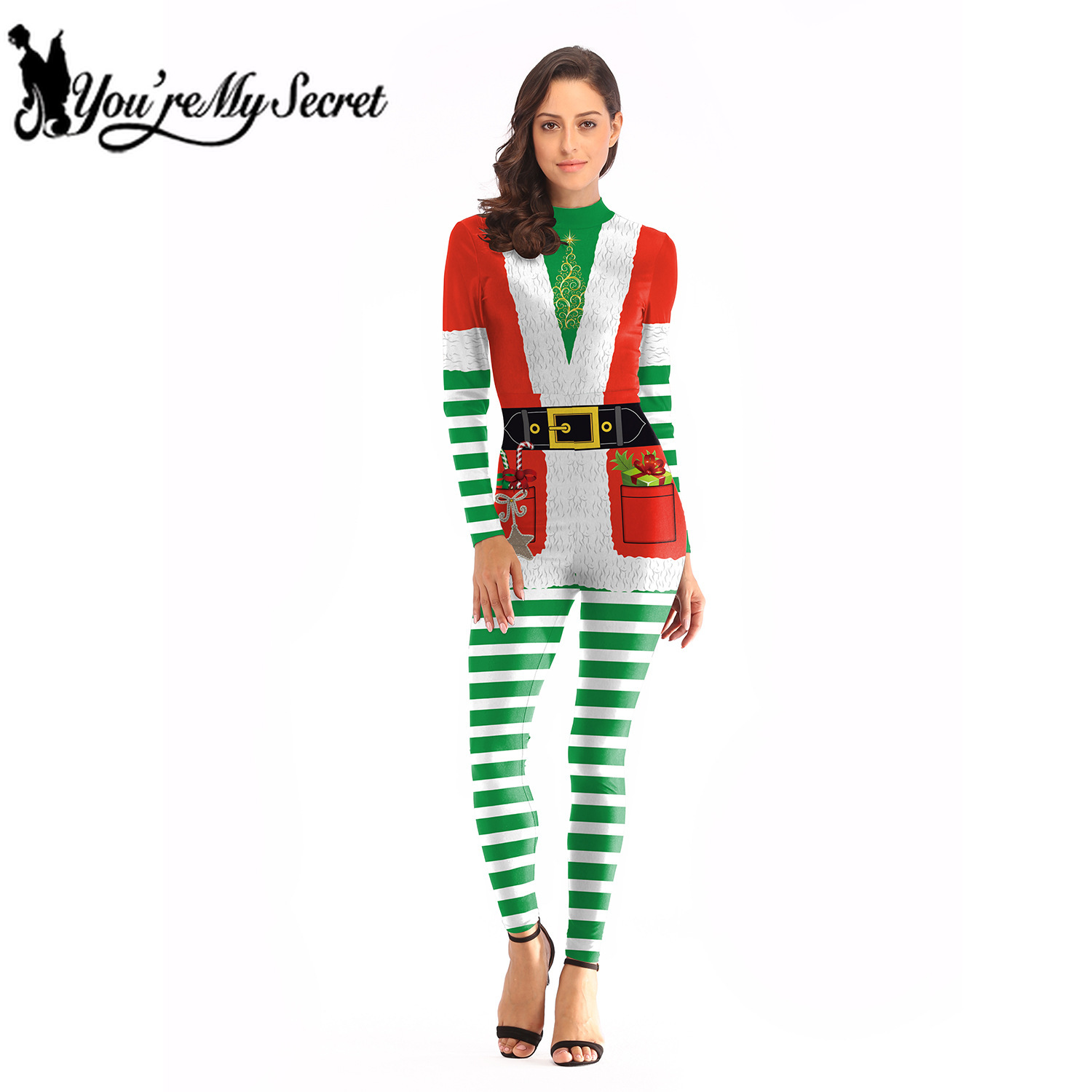 [You're My Secret] 2019 New Arrival Christmas Festival Bodysuit Women's Rompers Anime Cosplay Adult Holiday Striped Jumpsuit