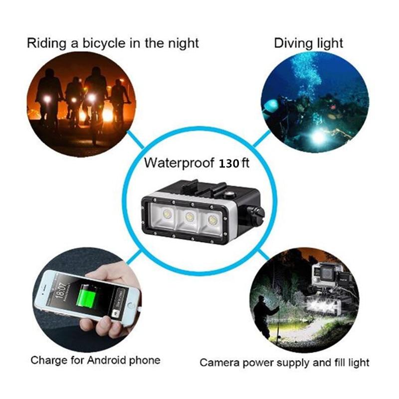 Suptig 防水ライトハイパワー調光可能 5200 バッテリー防水 Led ビデオライト移動プロ Hero7 6 5 4 3 xiaomiyi カメラ  グループ上の 家電製品 からの 点滅 の中 1