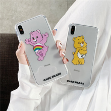 Rainbow case bear for apple iphone 8 6s 6 7 plus cute candy jelly transparent tpu fundas xsmax x xr xs 10 coque cover
