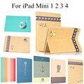 Para el iPad Mini 4 lindo Colorfull imprimir inteligente caja de la tableta para Apple iPad Mini 4 imán Flip cubierta de cuero