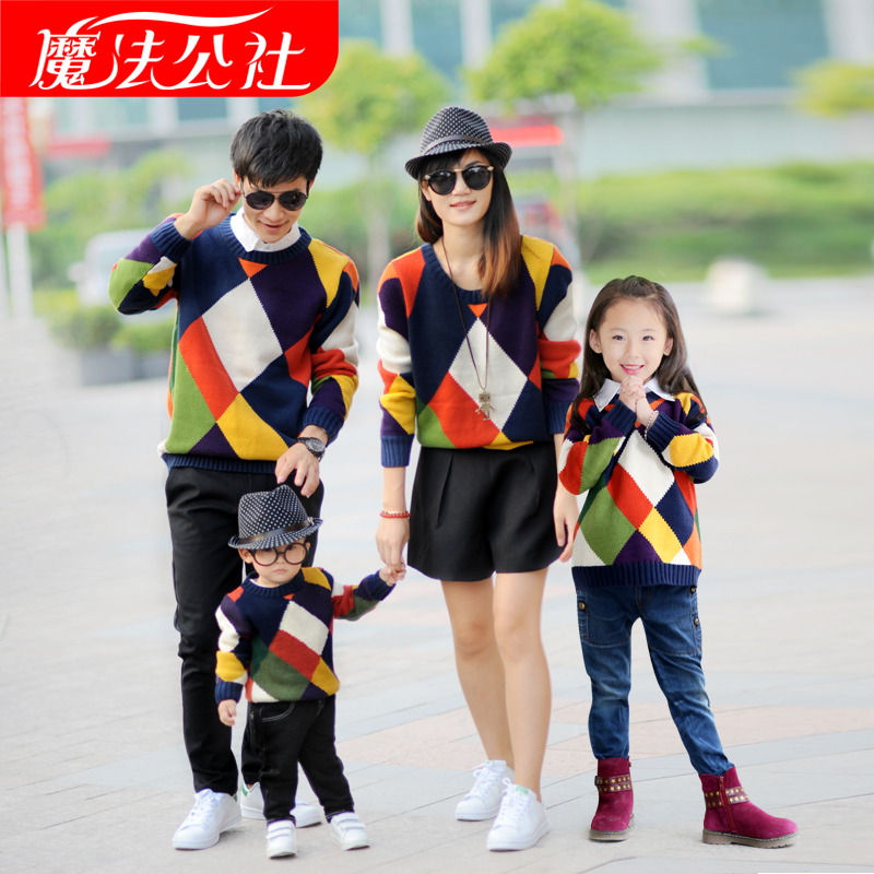 2016 Spring Autumn Winter Argyle Sweaters Matching Family Clothing Family Look Matching Mother Daughter Father Son Sweater matching family clothing set 2015 autumn style winter family look matching mother daughter father son long sleeve sweater set