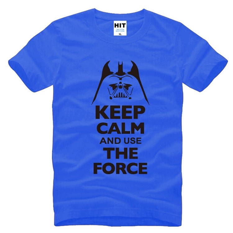 keep calm and use the force tshirt of starwars blue with black colors
