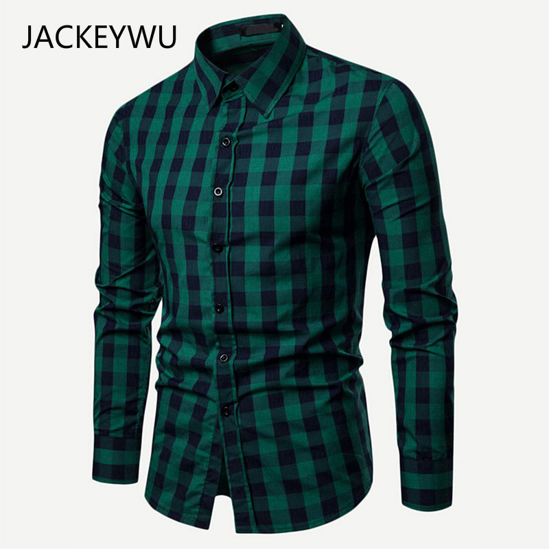 Dropshipping Men Plaid Shirt Long Sleeve Cotton Shirts 2019 Fashion Casual Slim Fit Checkered Chemise Homme Man Clothes in Casual Shirts from Men 39 s Clothing