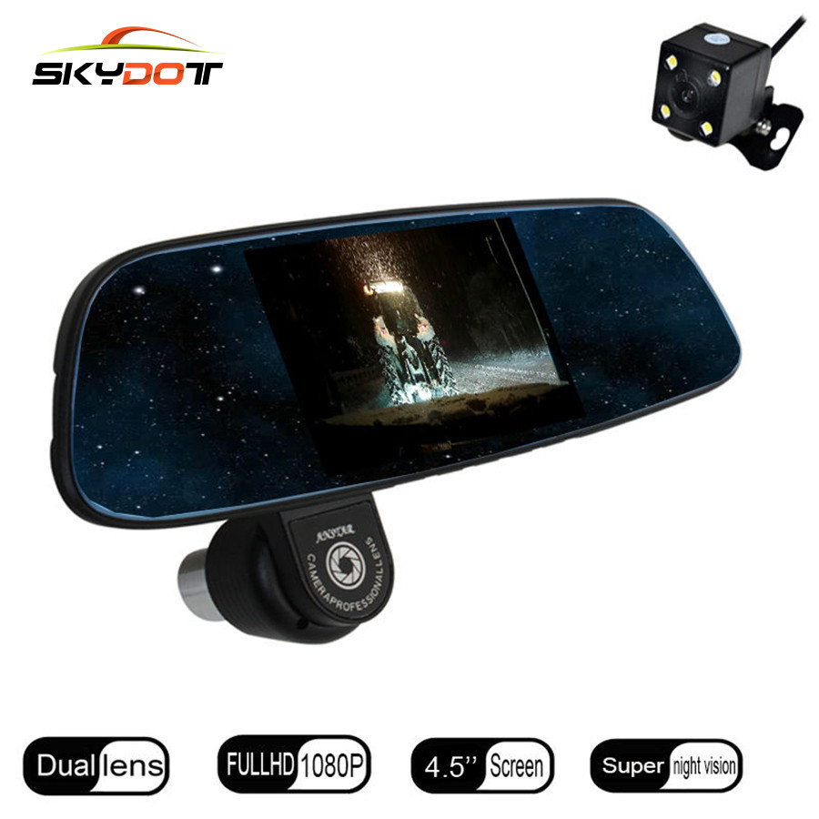 SKydot 4.5 Rearview Mirror Car DVR Dual Lens Dash Cam Full HD 1080P Night Vision DVRS With Rear Camera Video Digital Recorder 5 inch car camera dvr dual lens rearview mirror video recorder fhd 1080p automobile dvr mirror dash cam