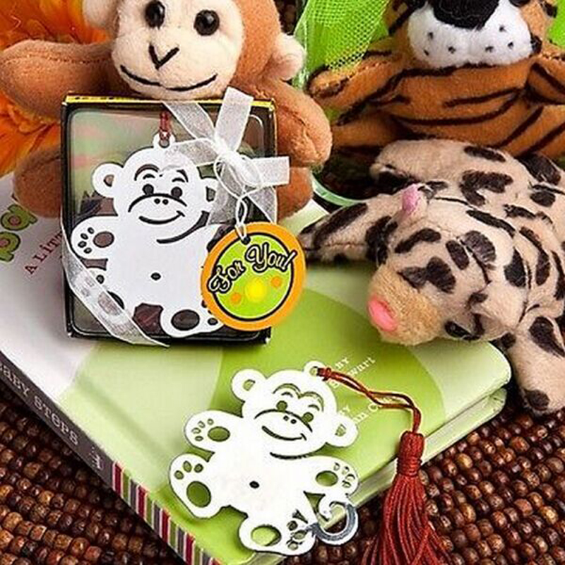 NEW Wedding Gifts Jungle Critters Collection Monkey Bookmark with Tassel Metal Book Holder Baby Shower Favors 100pcs/lot