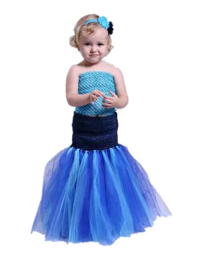 ФОТО Baby girl dress +Headwear halloween costumes Cosplay Mermaid suit pricess kids celebration gift Children Cartoon Costumes 90145