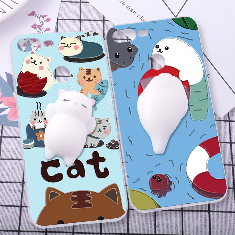 ShuiCaoRen Silicone Cases For Huawei honor 9 lite Case 3D Squishy Finger Pinch Cat Skin For Huawei honor 9 lite Cover ...