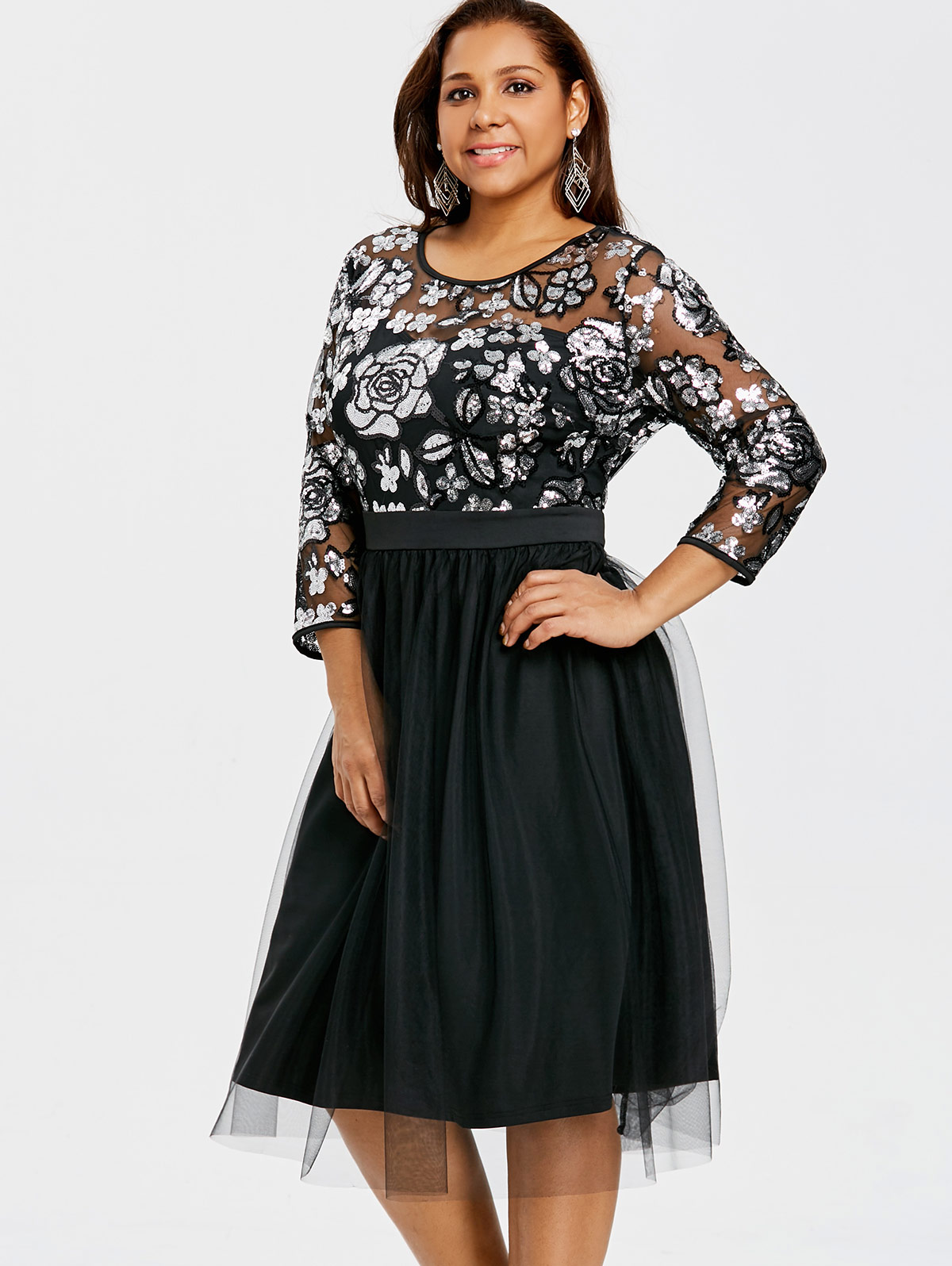 Gamiss Lace Plus Large Size Formal Party Dress Big Size Women Lace ...