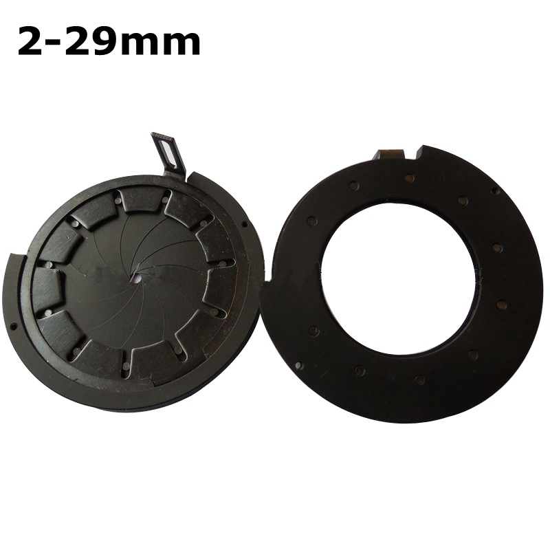 2-29mm Amplifying Diameter Zoom Optical Iris Diaphragm Aperture Condenser 11 Blades Digital Camera Monitor Microscope Adapter