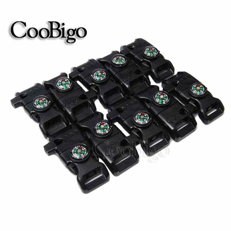 "1pcs 5/8""(15mm) Webbing Compass Side Release Whistle Buckle Scraper Paracord Bracelet Outdoor Bag Survival Kits"