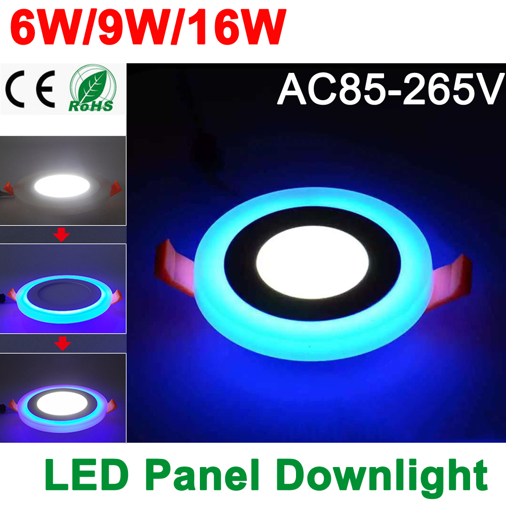 Nuevo diseño LED Panel Downlight 6W 9W 16W 3 Modelo LED Panel Light AC85-265V Empotrable Lámpara de techo Aluminio Acrílico Painel Lights