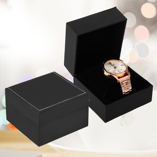 Black Durable Single Watch Box PU Leather Present Display Case Gift For Bracelet Bangle Jewelry Men's Watch Boxes Holder
