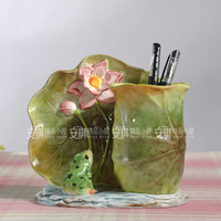 ceramic creative frog Fashion flower vase pot Pen holder home decor craft room decoration handicraft porcelain animal figurine