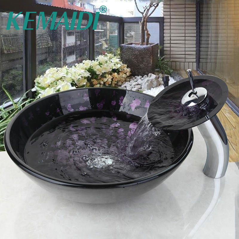 KEMAIDI Luxury Waterfall Tempered Glass countertop wash basin Sink Art Hand Painting Wash Basin Sink Bathroom Sink Glass FaucetKEMAIDI Luxury Waterfall Tempered Glass countertop wash basin Sink Art Hand Painting Wash Basin Sink Bathroom Sink Glass Faucet