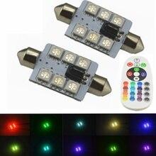 2 шт. RGB светодиодный 31/36/39/41 мм 5050 SMD 6 светодиодный лампы DC12V Автомобильные фары лампа гирлянда Супер яркие лампы Мощность Стоянкы Автомобилей автомобиля для укладки волос
