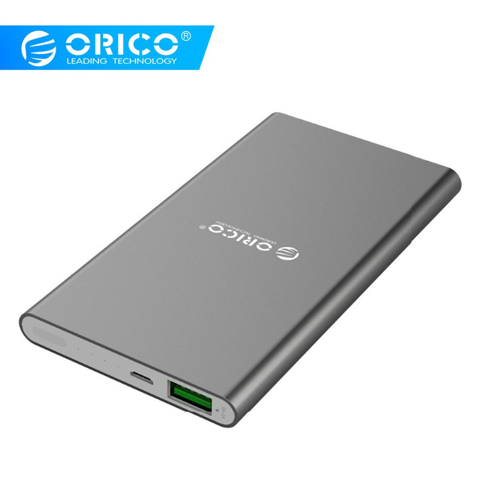 ORICO <font><b>5000mAh</b></font> <font><b>Power</b></font> <font><b>Bank</b></font> 5V 2A External Battery Charger Aluminum Alloy LED Powerbank for Samsung Xiaomi Huawei Phones Tablets image