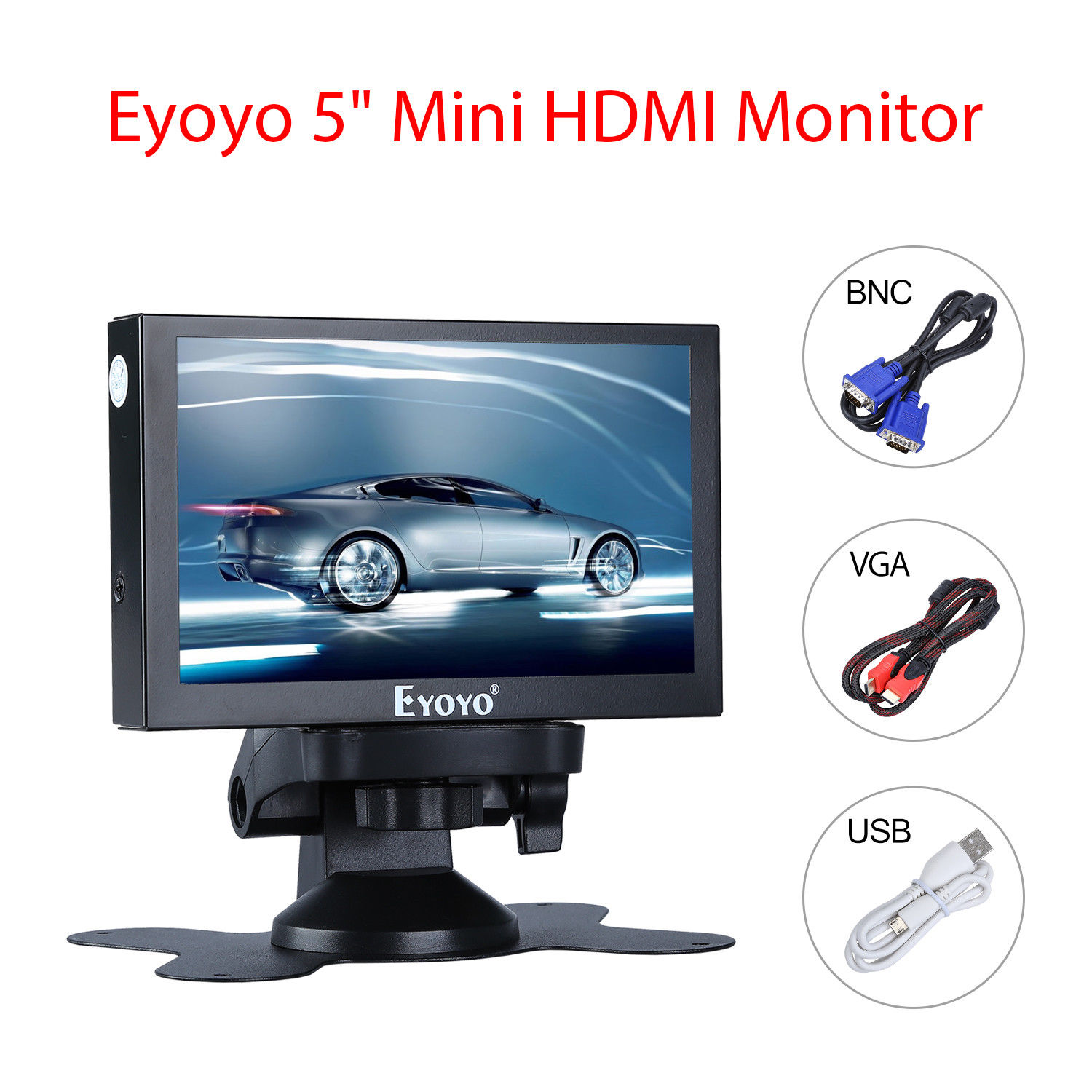 Eyoyo 5 inch Mini HDMI Monitor 800x480 Car Rear View TFT LCD Color Screen Display With BNC/VGA/AV/HDMI Output Built-in Speaker 8 inch hdmi touch monitor 1024x768 resolution display portable 4 3 tft lcd mini hd color video screen monitor with hdmi vga bnc