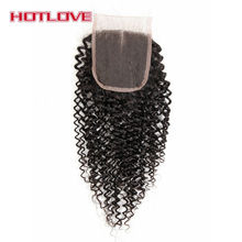 Hotlove Kinky Curly Hair Lace Closure 100% Remy Human Hair With Baby Hair Middle Part 4″x4″ Closure 130% Density