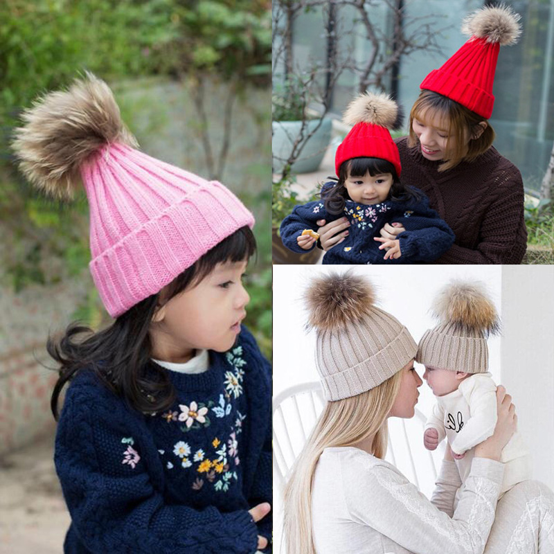 2017 Winter Girls skullies beanies Boys Winter Warmer Wool Fur hat elastic Kids Cap Pompom Ball Baby Knitted Hat Hairball Caps skullies