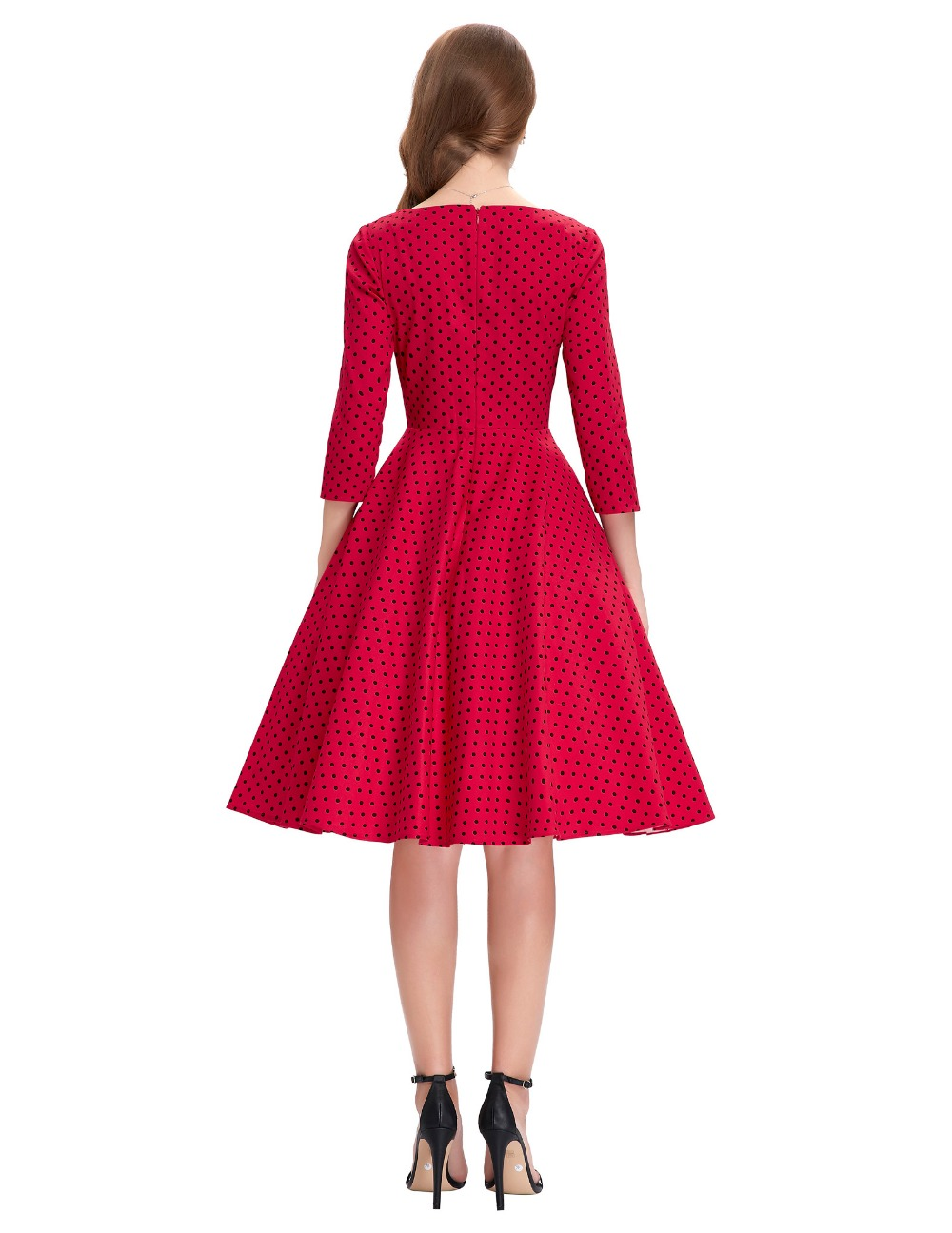 Belle Poque 2018 Women Summer Tunic Red 3 4 Sleeve Polka Dot Retro Skater  Retro 50s Vintage Woman Clothing Evening Party Dresses ba435bb1e373