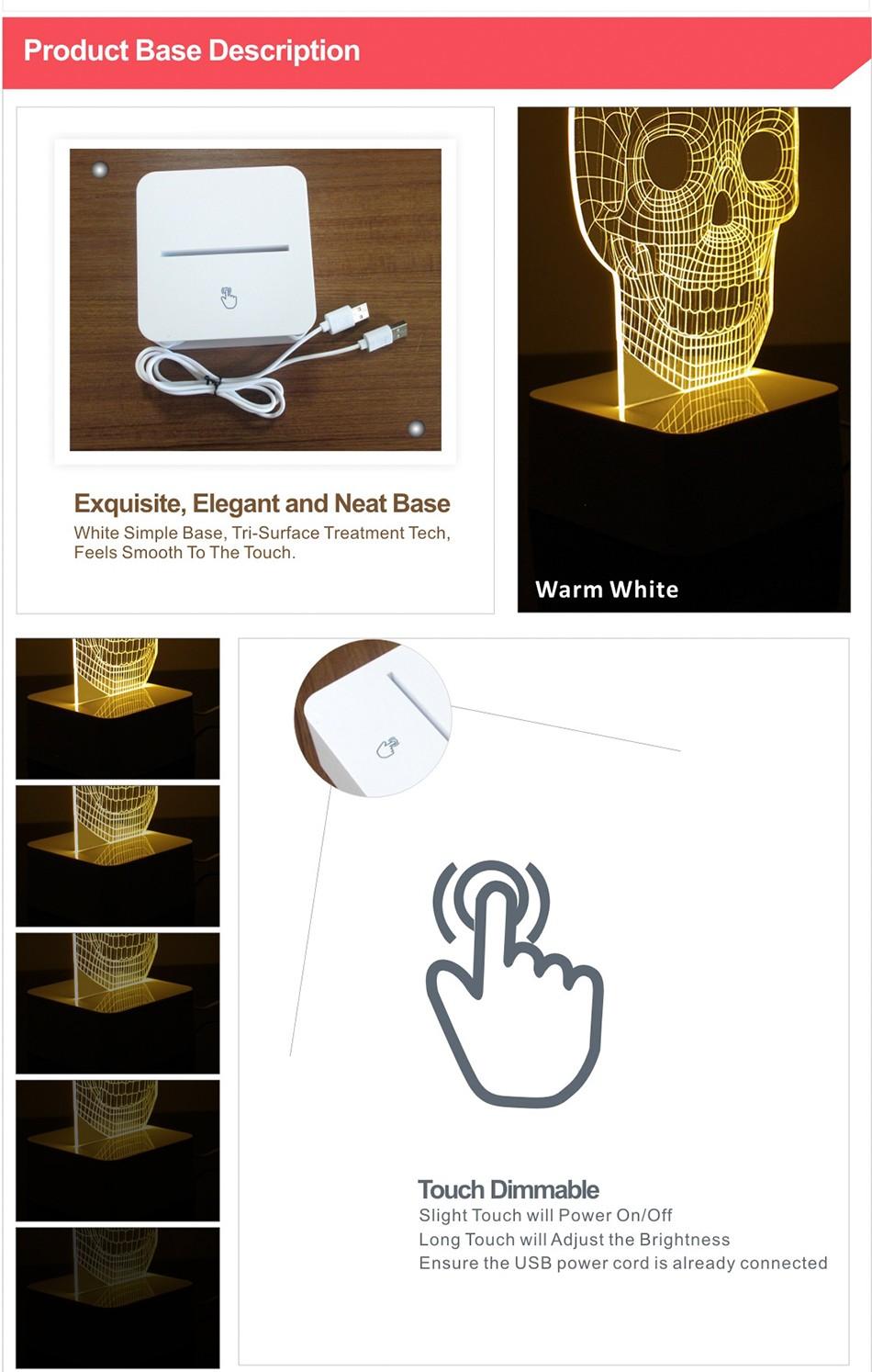 3d White Line Shadeless Terror Skull Dimmable 3d Led Light Bed Room Lamp  (7)