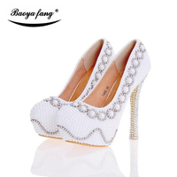 Branco/Bege pérola sapatos de Noiva plataforma de salto alto sapatos de Casamento Das Mulheres Pele De Porco palmilha de couro Plus Size sapatos femininos