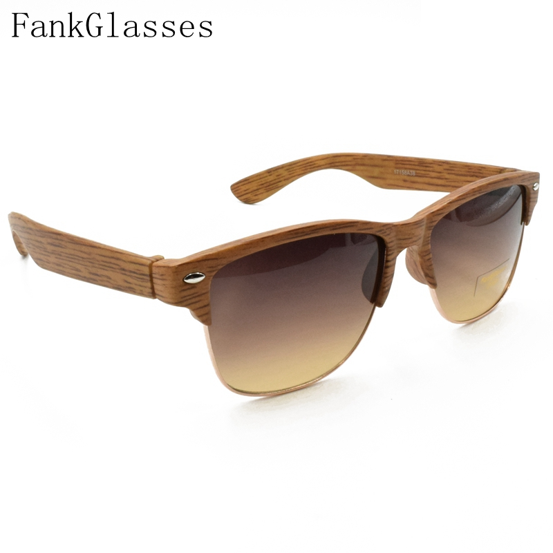 fankglasses 2016 plastic wood grain designer sunglass women half frame sunglasses men brand vintage sun glasses