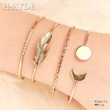 H:HYDE 4 Pcs/set Women Fashion Crystal Leaves Arrow Knot Geometric Chain Gold Bracelet Set Bohemian Vintage Bangles Jewelry